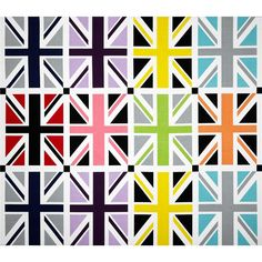 "Riley Blake Union Jack 24"" Panel Grey from @fabricdotcom  Designed by RBD Designers for Riley Blake, this cotton print panel features several repeats of the United Kingdom's Flag.  The panel measures about 24"" x 44"".  Colors include navy, violet, lavender, lime, pink and orange. Used for quilting and craft projects."