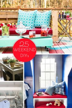 25 DIY remodeling projects you can tackle in a weekend >> http://www.hgtv.com/remodel/interior-remodel/25-remodeling-projects-you-can-do-in-a-weekend-pictures?soc=pinterest
