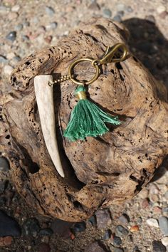 Antler Tip Keychain with Wire Wrapped Sea by TheFreezingSquirrel