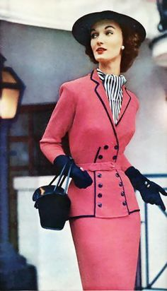 INSPIRATION: Evelyn Tripp 1952 50s pink suit color photo print ad model magazine fashion style