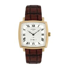 Rotary Ladies Watch Gold Plated Case Square Silver Dial Roman Numerals Brown Strap Reference LS02439 21