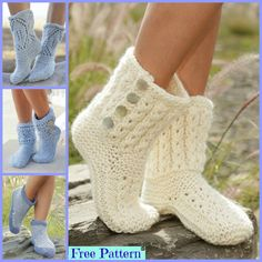 These Knitted Cozy Slippers slippers are very comfortable, and you will love them! Crochet Boots Pattern, Crochet Shoes, Knit Or Crochet, Crochet Clothes, Knitting Designs, Knitting Patterns Free, Knit Patterns, Free Knitting, Free Pattern