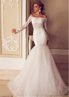 Fabulous Tulle Off-the-Shoulder Neckline Mermaid Wedding Dresses with Beaded Lace Appliques