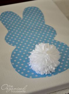 Easter Craft Idea – Easter bunny Silhouette , with Pom Pom Tail
