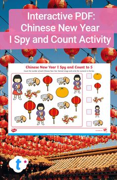 Great for celebrating Chinese New Year in your teaching, this cleverly designed interactive maths activity is perfect for using on a computer or tablet. Children can click and type directly onto the PDF, meaning no printer is needed! Click to download and find more interactive Chinese New Year resources over on the Twinkl website. #chinesenewyear #cny #interactivepdf #pdf #teachingresources #teaching #teacher #twinkl #twinklresources #homeschooling #remotelearning #mathsworksheet #ispy Counting Activities, Activities For Kids, I Spy, Home Learning, Numeracy, Eyfs, Chinese New Year, Maths, Teaching Resources