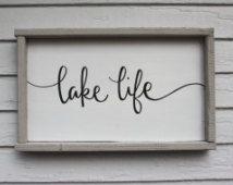 Lake Signs Wall Decor Life Modern Wood Sign House