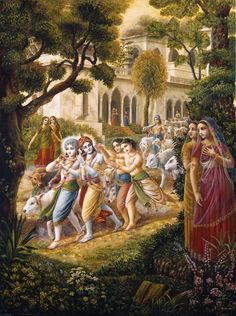 Krishna and Balarama take the cows to the pastures, oil painting, Vedic art, by Dominique Amendola