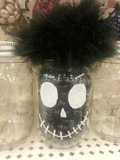 Rocks, feathers, mason jar. Halloween decor diy