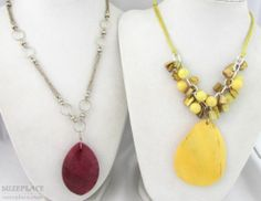 Two Large Pendant Necklaces Yellow Mother of Pearl Beveled Violet Pendant SuzePlace.com