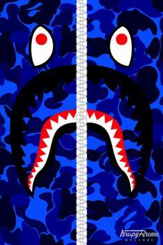 Blue Bape Hoodie Shark Wallpaper
