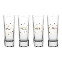 """Pop, Fizz, Cheers, Clink"" Shot Glasses - Set of 4"