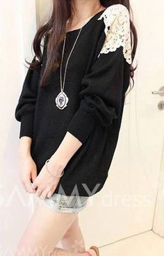 $7.22 Lace Embroidered Stitching Long Sections Asymmetrical Hem Spandex Color Matching Sweater For Women