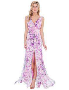 V Neck Floral Print Maxi Dress - Lilac