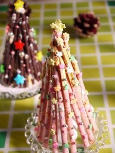 Could be cute with the right decorations - pocky Christmas trees with sprinkles