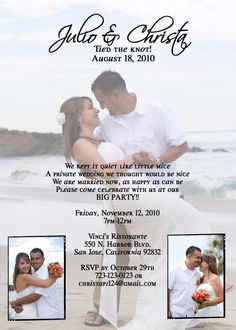 elopement wedding invitation/announcement-- These are prefect if we do a destination wedding we come back and have a big party for everyone that couldn't come..