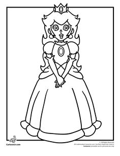 Princess Peach Coloring Page Super Mario Pages For Kids Printable