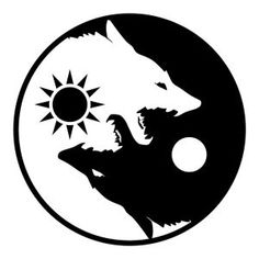 *{ Wolf Yin and Yang symbol }* Arte Yin Yang, Yin Yang Art, Yin And Yang, Ying Et Yang, Yin Yang Tattoos, Tattoo Drawings, Body Art Tattoos, Art Drawings, Tribal Drawings