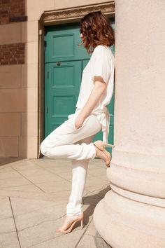 Otte Blouse.  Rebecca Taylor Pants (similar).  Zara Heels.  Celine Sunglasses.  Proenza Schouler Wallet.