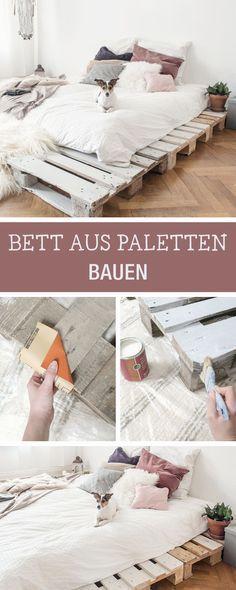 Ein Bett selberbauen aus Paletten, minimale Möbel bauen / how to build furniture: build a bed with pallets via DaWanda.com