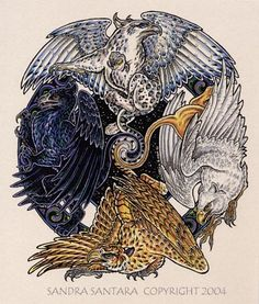 Gryphons are a chimera of an eagle and lion. They;ve been in human art since the 15bc. they have been the protecter of witchcraft, courage, leadership, intellegence, stregnth. In British hrealdry males have no wings
