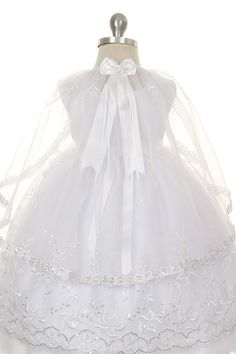 Rain Kids White Silver Embroidered Angel Baptism Dress Girls