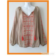 """Lucky Brand cotton gauzy boho top! Super cute! Super comfy! Sheer gauzy boho top with elastic bottom and elastic sleeve edge. Beautiful delicate orange embroidery. Excellent condition. measures 26"""" long 27"""" arm length  30"""" bust from armpit to armpit Lucky Brand Tops"""