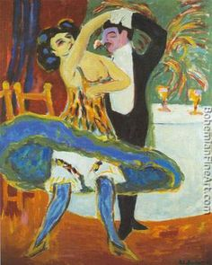Ernst Ludwig Kirchner, Variete; English Dancers Fine Art Reproduction Oil Painting