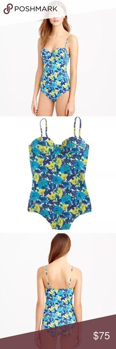 Blue + Green Summer Floral One-Piece Swimsuit Beautiful floral swimsuit that is extremely versatile. Underwire and padding at bust. Wear this three ways: strapless, shoulder straps or halter {extra strap included!} Nylon, Elastane and Polyester. True to size and very feminine, trendy and flattering. Product looks exactly as seen in photos. J. Crew Swim One Pieces