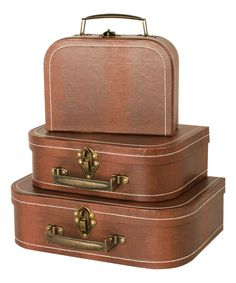 Look at this Brown Suitcase Set on #zulily today!
