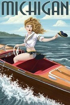 Michigan - Pinup Girl Boating - Lantern Press Poster #puremichigan