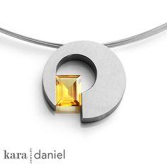 vintage citrine upcycled in modern pendant   Kara Daniel