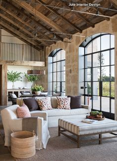 "Beamed ceiling and a modern take on ""french doors."""