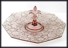 Fostoria Orchid Paradise Brocade Center Handled Server Tray Vintage 1920s Elegant Glass, $115