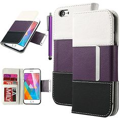 iPhone 6 Case, iPhone 6 4.7 Case, ULAK Wallet Case for Apple iPhone 6 4.7 inch Screen Leather Credit Card Holder Pouch +PC endoconch Cover with Screen Protector and Stylus (White+Black+Purple) ULAK http://www.amazon.com/dp/B00MVGWZE0/ref=cm_sw_r_pi_dp_yi4oub0W5TKNX