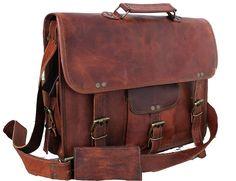 Handmadecraft Leather Unisex Real Leather Messenger Bag for Laptop Briefcase Satchel ...