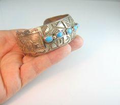 Hopi Sterling Silver Bracelet Turquoise Overlay by bohemiantrading