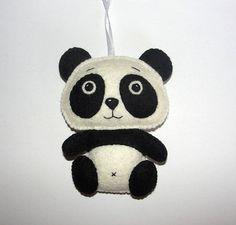 Wool Felt Panda Bear Ornament, Panda Ornament, Felt Panda, Nursery, Tree Decor, Baby Shower Gifts, Birthday Gift, Wall Decor, Gift