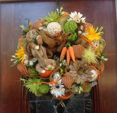 Easter Bunny Holding His Carrot Burlap and Mesh Wreath by HertasWreaths on Etsy