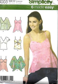Simplicity 5003 Misses Summer Tops Sewing Pattern ,Sleeveless And Sleeve Variations, 14-20, UNCUT by DawnsDesignBoutique on Etsy