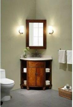 Xylem Carlton Corner Bathroom Vanity Set in Antique Maple Corner Bathroom Vanity, Bathroom Vanity Designs, Small Bathroom Vanities, Small Bathroom Storage, Small Bathrooms, Corner Mirror, 1950s Bathroom, Downstairs Bathroom, Simple Bathroom