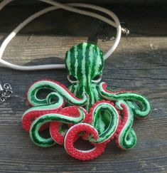 Bright original polymer clay pendant with watermelon octopus on white leather or white-green waxed cord. (thick leather cord or 4 thin waxed cord like on last photo). Size of octopus is about inches lenght of cord is inches at choice + additional Clay Crafts For Kids, Kids Clay, Crafts For Teens To Make, Crafts To Sell, Arts And Crafts, Octopus Art, Octopus Mermaid, Octopus Jewelry, Cute Clay