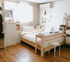 by interior Korean Bedroom Design Small Bedroom Decor Apartment Therapy Linen Storage How To Make A Small House Look Bigger Outside smallbedroomdecor College Bedroom Decor, Cool Dorm Rooms, Home Decor Bedroom, Living Room Decor, Bedroom Ideas, Master Bedroom, Master Suite, Bedroom Apartment, Diy Bedroom