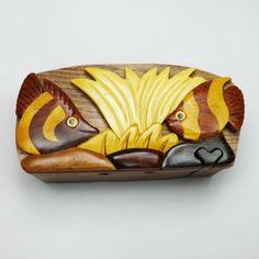 Handmade Art Intarsia Wooden Puzzle Box - Fish