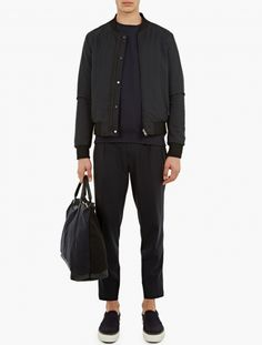 Navy Wool-Blend Pleated Trousers,