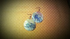 Pastel Blue Flower Print on Round White Shell by CoutureRendezvous, $18.99