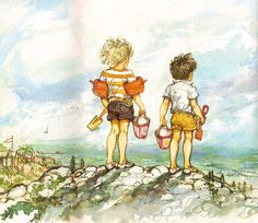 Shirley Hughes Lucy and Tom at the Seaside: buckets and spades Art And Illustration, Illustrations And Posters, Shirley Hughes, Bucket And Spade, Nature Beach, Beach Fun, Drawing People, Artist At Work, Cute Art