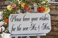 Wedding Signs LEAVE a WISH for Mr and Mrs 15x7 SELF by familyattic, $31.95