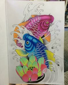 Pez Koi Tattoo, Carp Tattoo, Sak Yant Tattoo, Japanese Tattoo Designs, Japanese Tattoo Art, Tattoo Designs Men, Koi Fish Drawing, Fish Drawings, Dragon Koi Tattoo Design