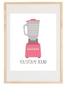 Kitchen Art - You Spin Me Round v. 2.0 - 8.5x11 Print - Retro Inspired Digital Illustration Poster - Pink - Blender - Tools Appliances. $16.00, via Etsy.