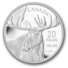 Canada Post - 2012 $20 Pure Silver Coin- Bull Moose - The Moose Family. Maybe for Sophia's Canadian Heritage collection.